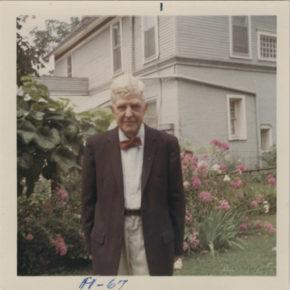 Dale Dorney in a bow tie in his garden